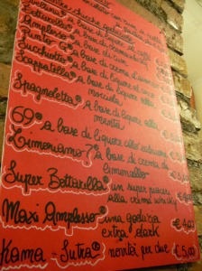 Menu at Trastevere, Rome